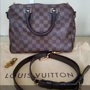 Louis Vuitton Speedy 25 Bandouliere Damier Ebene cc2dc6d386603
